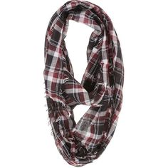 burgundy and black plaid infinity scarf ($16) ❤ liked on Polyvore featuring accessories, scarves, black infinity scarf, plaid shawl, loop scarf, black loop scarf and infinity scarves