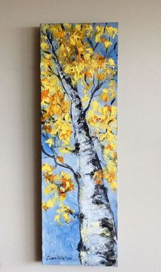 Your place to buy and sell all things handmade - Aspen Tree Abstract Painting Original Painting 36 x 12 - Abstract Tree Painting, Abstract Canvas, Watercolor Paintings, Original Paintings, Canvas Art, Canvas Paintings, Long Painting, Tree Paintings, Yellow Painting