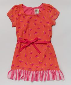 Look what I found on #zulily! Coral Heart Ribbon Tie Ruffle Dress - Girls #zulilyfinds