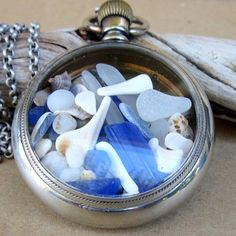Time at Sea Cobalt Blue and White Sea Glass Necklace by newsprout, $135.00