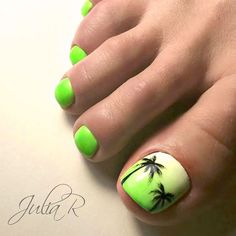 Best Toe Nail Art Ideas for Summer 2018 Tropical Nail Art designs for Toes p Pretty Toe Nails, Cute Toe Nails, Fancy Nails, Beach Toe Nails, Summer Toe Nails, Green Toe Nails, Toenail Art Summer, Fall Toe Nails, Lime Green Nails