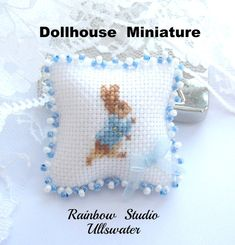 dollhouse peter rabbit cushion needlepoint by Rainbowminiatures, Cross Stitching, Cross Stitch Embroidery, Cross Stitch Patterns, My Doll House, Cross Stitch Pillow, Miniature Quilts, Victorian Dollhouse, Tiny Treasures, Peter Rabbit