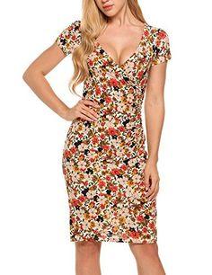 acevog Women s Floral Short Sleeve Pencil Slim Sheath Midi Dress bfee660d298d
