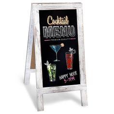 Chalkboard A-Frame with Rustic Vintage Gray Wash Frame Sandwich Board