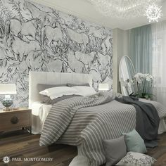 Equus Silver is a unique piece from our Endur Collection in a modern chalk-and-charcoal style depicting a field of horses at rest and at play.  #modernwallpaper #moderndecor #blackandwhite #currentdesignsituation#fromwhereistand #houseenvy #interiorandhome #luxuryhome#housebeautiful #homeandgardens