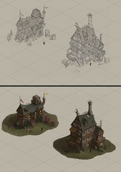 House design by wanbao on DeviantArt Environment Sketch, Environment Design, Prop Design, Game Design, Isometric Art, Game Concept Art, Visual Development, Concept Architecture, Environmental Art