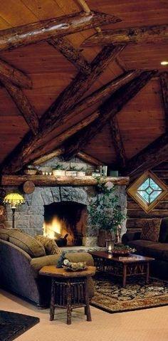 Cozy log cabin living room