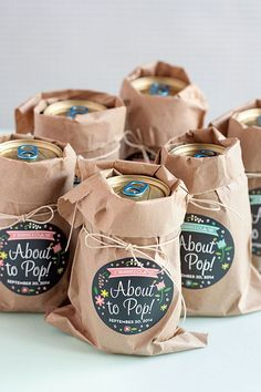 This would work great for beer and/or sodas for a co-ed baby shower. | 3 Easy Baby Shower Favor Ideas | Evermine Blog