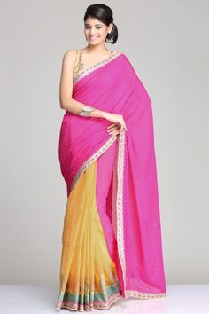 Mustard Yellow & Fuchsia Pink Georgette & Chanderi Net Saree With Leaf Motifs On The Border And A Mustard & Gold Soft Brocade Blouse Piece