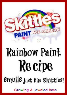Rainbow Paint that smells just like Skittles- sensory painting at it's best!  Paint the rainbow!