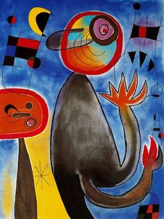 Ladders Cross the Blue Sky in a Wheel of Fire - Joan Miro; Use with grade Miro Creatures Spanish Painters, Spanish Artists, Joan Miro Pinturas, Wheels Of Fire, Joan Miro Paintings, Oil Paintings, Composition Art, Poster Prints, Art Prints