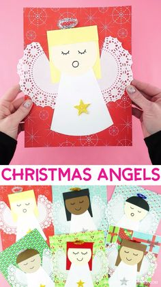 Paper Angels Christmas Craft for Kids Fun and easy tutorial for how to make paper angels with our free template. This paper angel craft is a great Christmas craft for home or Sunday school. Simple for kids of all ages to make! Yarn Crafts For Kids, Christmas Crafts For Toddlers, Christmas Crafts For Kids To Make, Christmas Card Crafts, Christmas Angels, Preschool Crafts, Kids Christmas, Christmas Poinsettia, Craft Kids