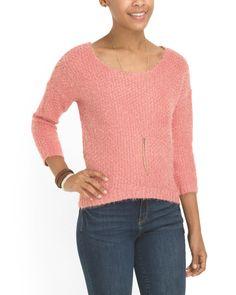 Juniors Long Sleeve Eyelash Sweater