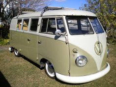 volkswagen samba Except for the low-rider thing, this is like ours. Same color, hinged side doors, 3 side window with a solid bit at the back.