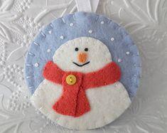 Snowman Ornament Snowflake Primitive Christmas Felt Decoration Felted Wool