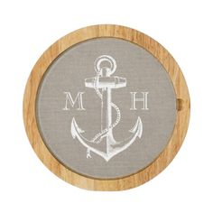 Rustic Vintage Anchor Wedding Monogram Round Cheeseboard