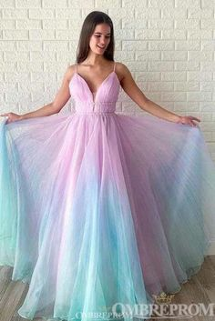 Buy Ombre Long Prom Dress V-neck Beaded Graduation Gown wear to a military ball, formal party, graduation or wedding that perfect for you and your unique personality. A Line Prom Dresses, Tulle Prom Dress, Quinceanera Dresses, Cheap Prom Dresses, Homecoming Dresses, Rainbow Prom Dress, Elegant Dresses, Pretty Dresses, Formal Dresses