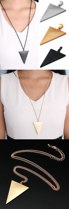 Necklaces pendants wholesale punk style triangle pendant long chain necklace gold silver black #jcpenney #jewelry #pendants #necklace #pendants #engraved #necklace #pendants #for #new #mothers #necklace #pendants #to #make