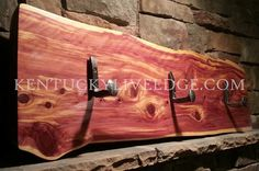 Rustic Coat Rack Eastern Red Cedar Live Edge Slab With Recalimed Iron Railroad…