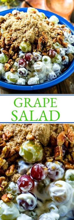 Grape Salad Easy Grape Salad is always a potluck favorite! (Favorite Desserts Potlucks)Easy Grape Salad is always a potluck favorite! Easy Potluck Recipes, Potluck Dishes, Fruit Recipes, Side Dish Recipes, Summer Recipes, Salad Recipes, Cooking Recipes, Picnic Potluck Recipes, Grape Recipes