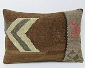brown kilim pillow 16x24 brown pillow cover brown pillow case brown throw pillow brown cushion cover brown decorative pillow brown rug 21247