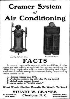 """El término """"aire acondicionado"""" fue acuñado por un empresario textil de Carolina del Norte llamado Stuart Cramer. Sin embargo, su invento no servía para enfriar el ambiente, sino para humedecerlo, una necesidad de la industria textil."""