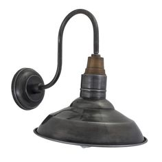Vintage Round Shaped Barn Swan Neck Retro Wall Sconce Lamp - Pewter
