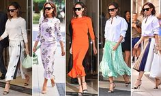 As Victoria Beckham, steps out in her new favorite fashion formula FIVE times in one week, FEMAIL breaks down her stylish look and rounds up the chicest midi skirt and sweater combos to shop. Dress Skirt, Midi Skirt, Victoria Beckham News, Queen V, Get The Look, Casual Chic, What To Wear, Times, Stylish