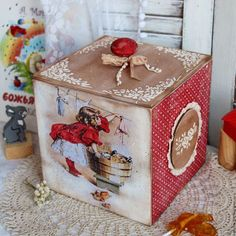 Discover thousands of images about decoupage tea Decoupage Box, Decoupage Vintage, Diy Christmas Gifts, Christmas Decorations, Wooden Box Crafts, Pretty Storage Boxes, Wooden Painting, Crafts To Make, Diy Crafts