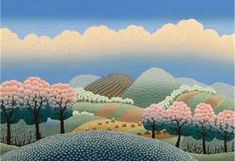 European Silkscreen Prints by Ivan Rabuzin Ivan Rabuzin, Naive Art, Silk Screen Printing, Landscape Art, Beautiful Landscapes, Croatia, Sea Shells, Folk Art, Amatriciana