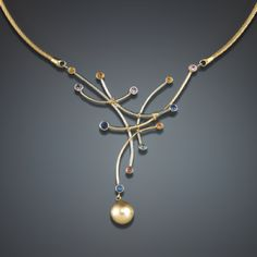 Golden South Sea Pearl and multi color Sapphire Necklace