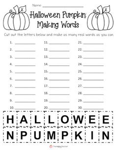 Halloween Making Words activity: This printable is perfect for stations, small groups, or use with a sub during the month of October. Easy and fun Halloween activity that will engage kiddos. Word Work Activities, Holiday Activities, Classroom Activities, Halloween Activities For Kids, Senior Activities, Holiday Themes, Writing Activities, Classroom Ideas, School Holidays