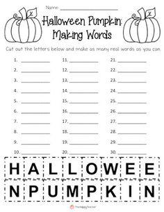Word Work activity for Halloween!