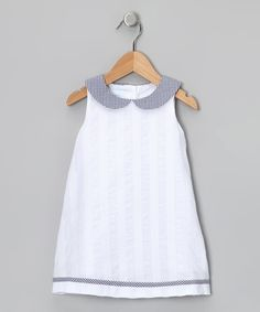 Take a look at this White & Navy Gingham Collar Dress - Toddler & Girls on zulily today!