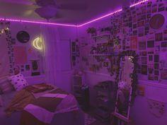 Neon Bedroom, Room Design Bedroom, Room Ideas Bedroom, Rock Bedroom, Bedroom Inspo, Indie Room Decor, Cute Room Decor, Aesthetic Room Decor, Hippie Bedroom Decor