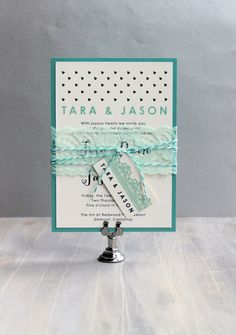 "Emerald Green, Mint Wedding Invitations, Modern Wedding Invitations, Lace Wedding Invites, Tiffany Blue {NEW} - ""Hearts & Lace"" Sample"