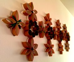 Wall art from left over #tissue #paper rolls.