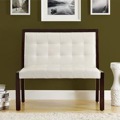 Your guests will be delighted to relax on this sleek wood bench. The padded back and seat provide cushioned support for the spine and welcome rest for weary legs. The polyurethane upholstery mimics the look of leather, giving the bench an elegant look.