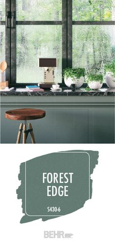 There's nothing like the dark green hue of Forest Edge by BEHR Paint to upgrade the interior design of your home. This earthy colour pairs well with rustic wood furniture and dark marble countertops to create a moody boho-chic style in this kitchen. How will you use it in your home?