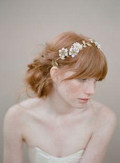 Bridal hair vine beaded flowers headpiece  Pearl and por myrakim, $245.00