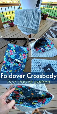 This has got to be the easiest crocheted bag ever. For this Foldover Crossbody bag we use simple half double crochet, then decide whether or not you want to add the lining, pocket, pouches and zipper. via @ashlea729
