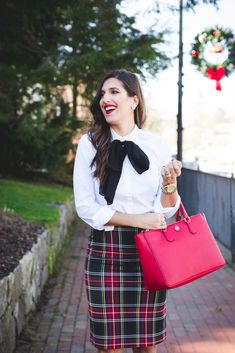 tartan plaid skirt, bow accessory, bow top, bow neck tie, red tote, tory burch robinson pebbled multi tote, holiday outfit, holiday outfit ideas, holiday party look, plaid outfit // grace wainwright from  a southern drawl