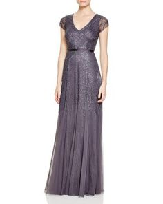 Adrianna Papell Cap Sleeve Deco Embellished Gown   Bloomingdale's