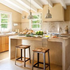 Kitchen and bar on island. Microcement and beams 00437007 Kitchen Cabinet Colors, Kitchen Decor, Home Design, Design Ideas, Casa Loft, Concrete Kitchen, Rustic Room, Kitchen Models, Dream Decor