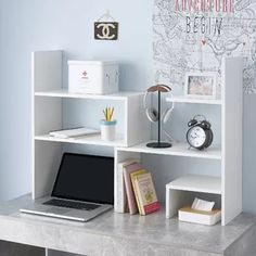 Shop at DormCo for our Classic Dorm Desk Bookshelf - White. This dorm essentials item will add to your dorm room decor with a white color and has shelves along the side and top for college textbooks, notebooks, and other college desk supplies.