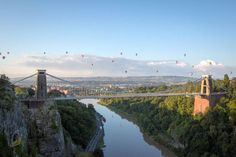 Bristolians gather at the Clifton Observatory to watch the mass balloon ascent, part of the Bristol International Balloon Fiesta, By Jon Rowley/SWNS