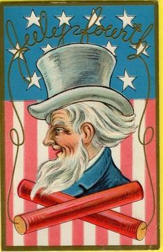 Vtg Printed Colored Postcard Fourth of July Uncle Sam Firecrackers/Fireworks