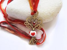 Red Heart White Bead Brass Key  Vintage by GlassHouseLampwork, $25.00