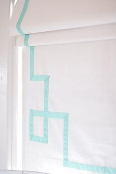 DIY window treatment for nursery.  Design by Caitlin Wilson.