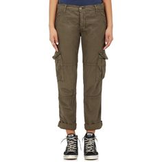 NSF Women's Basquiat Cotton Cargo Pants ($248) ❤ liked on Polyvore featuring pants, dark green, cargo pants, pocket pants, cotton trousers, button fly cargo pants and dark green cargo pants